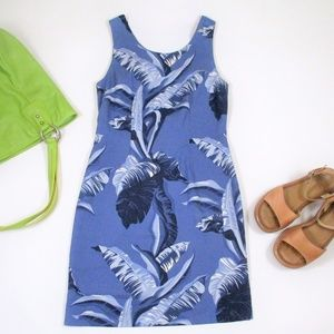 Hilo Hattie 2 Blue Silk Sheath Dress Mini Tropical
